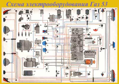 электрическая схема газ 53
